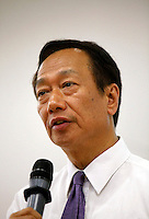 Terry Gou, founder and chairman of Hon Hai Group, speaks during a news conference at the company's Foxconn plant in Shenzhen, China, on Wednesday, May 26, 2010. Hon Hai is the parts supplier for many hi-tech companies around the world including Apple Inc., Hewlett-Packard Co. and Dell Inc. There have been 12 suicides at the company's 300 thousand employee strong factory complex in Shenzhen so far this year.