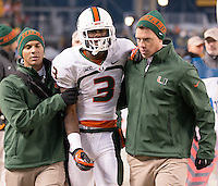 Miami wide receiver Stacy Coley (3) gets helped to the locker room after his 73-yard touchdown run. The Miami Hurricanes defeated the Pitt Panthers 41-31 at Heinz Field, Pittsburgh, Pennsylvania on November 29, 2013.