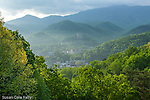View of Gatlinburg, Tennesee, and the Great Smoky Mountains National Park, Tennessee, USA