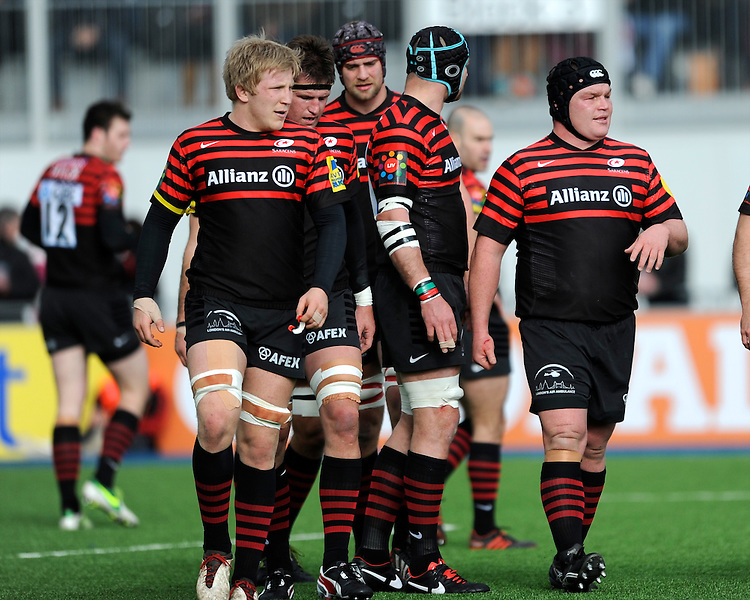 20130303 Copyright onEdition 2013©.Free for editorial use image, please credit: onEdition..Saracens players prepare for a lineout (L-R) Jackson Wray, Ernst Joubert, Alistair Hargreaves, Steve Borthwick and Matt Stevens of Saracens during the Premiership Rugby match between Saracens and London Welsh at Allianz Park on Sunday 3rd March 2013 (Photo by Rob Munro)..For press contacts contact: Sam Feasey at brandRapport on M: +44 (0)7717 757114 E: SFeasey@brand-rapport.com..If you require a higher resolution image or you have any other onEdition photographic enquiries, please contact onEdition on 0845 900 2 900 or email info@onEdition.com.This image is copyright onEdition 2013©..This image has been supplied by onEdition and must be credited onEdition. The author is asserting his full Moral rights in relation to the publication of this image. Rights for onward transmission of any image or file is not granted or implied. Changing or deleting Copyright information is illegal as specified in the Copyright, Design and Patents Act 1988. If you are in any way unsure of your right to publish this image please contact onEdition on 0845 900 2 900 or email info@onEdition.com