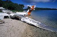 Wreck of a small airplane on the beach of Mosso Island, Vanuatu.