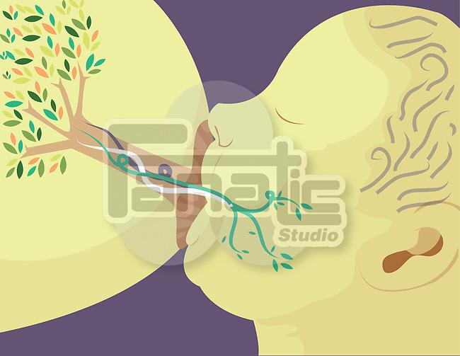 illustrative image of mother breast feeding new born representing beginnings