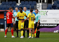 3rd October 2020; Kenilworth Road, Luton, Bedfordshire, England; English Football League Championship Football, Luton Town versus Wycombe Wanderers; Scott Kashket of Wycombe Wanderers arguing with Assistant Referee Henry Lennard after full time after he flagged Scott Kashket of Wycombe Wanderers goal as offside
