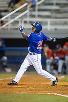 Raphael Ramirez (21) of the Kingsport Mets follows through on his swing against the Elizabethton Twins at Hunter Wright Stadium on July 8, 2015 in Kingsport, Tennessee.  The Mets defeated the Twins 8-2. (Brian Westerholt/Four Seam Images)