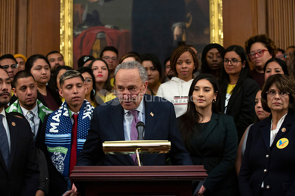 United States Senate Minority Leader Chuck Schumer (Democrat of New York), joined by other Democratic lawmakers, speaks during a press conference on the Deferred Action for Childhood Arrivals program on Capitol Hill in Washington D.C., U.S. on Tuesday, November 12, 2019.  The Supreme Court is currently hearing a case that will determine the legality and future of the DACA program.  <br /> <br /> Credit: Stefani Reynolds / CNP /MediaPunch