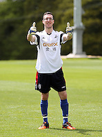 Pictured: Ben Donovan. Tuesday 06 May 2014<br /> Re: Members of the local press play football against Swansea City FC coaches and members of staff at the Club's training ground in Fairwood, south Wales.