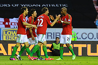 Tuesday, 7 May 2013<br /> <br /> Pictured: Swans Celebrate Angl Rangel's Goal at Wigan <br /> <br /> Re: Barclays Premier League Wigan Athletic v Swansea City FC  at the DW Stadium, Wigan