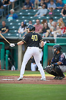 Chad Wallach (40) of the Salt Lake Bees at bat against the Reno Aces at Smith's Ballpark on August 24, 2021 in Salt Lake City, Utah. The Aces defeated the Bees 6-5. (Stephen Smith/Four Seam Images)