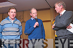 Sean Kelly and Chain Gang Cycling member Canice Walsh on stage with Micheal O'Mhuircheartaigh at the launch of a Kerry Cycling Mentoring Programme last  Wednesday night.