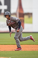 Lehigh Valley IronPigs outfielder Nick Williams (4) runs to third base against the Toledo Mud Hens during the International League baseball game on April 30, 2017 at Fifth Third Field in Toledo, Ohio. Toledo defeated Lehigh Valley 6-4. (Andrew Woolley/Four Seam Images)