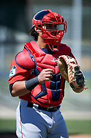 Boston Red Sox catcher Alberto Schmidt (23) during practice before a minor league Spring Training game against the Baltimore Orioles on March 16, 2017 at the Buck O'Neil Baseball Complex in Sarasota, Florida. (Mike Janes/Four Seam Images)