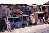 Sao Paulo, Brazil. Shanty town (favela) houses made from re-used wood etc.