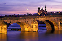 AJ1634, Loire Valley, France, Blois, Europe, The Pont (bridge) Jacques Gabriel is illuminated at night spanning the Loire River in the medieval town of Blois in the Loire Castle Region of France.