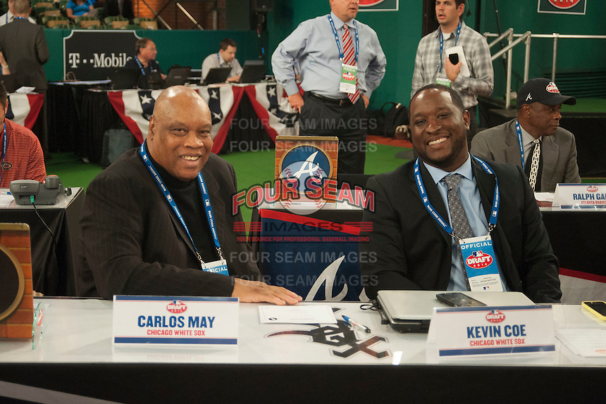 Chicago WhiteSox Representatives Carlos May and Kevin Coe during the MLB Draft on Thursday June 05,2014 at Studio 42 in Secaucus, NJ.   (Tomasso DeRosa/ Four Seam Images)