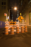 AVAILABLE FROM JEFF AS A FINE ART PRINT.<br /> <br /> AVAILABLE FROM JEFF FOR COMMERCIAL/EDITORIAL LICENSING.<br /> <br /> Street Construction Site at Night in Lower Manhattan's Financial District, New York City, New York State, USA