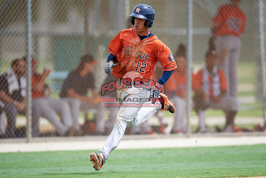 GCL Astros Carlos Diaz (12) during a game against the GCL Marlins on July 22, 2017 at Roger Dean Stadium Complex in Jupiter, Florida.  GCL Astros defeated the GCL Marlins 5-1, the game was called in the seventh inning due to rain.  (Mike Janes/Four Seam Images)
