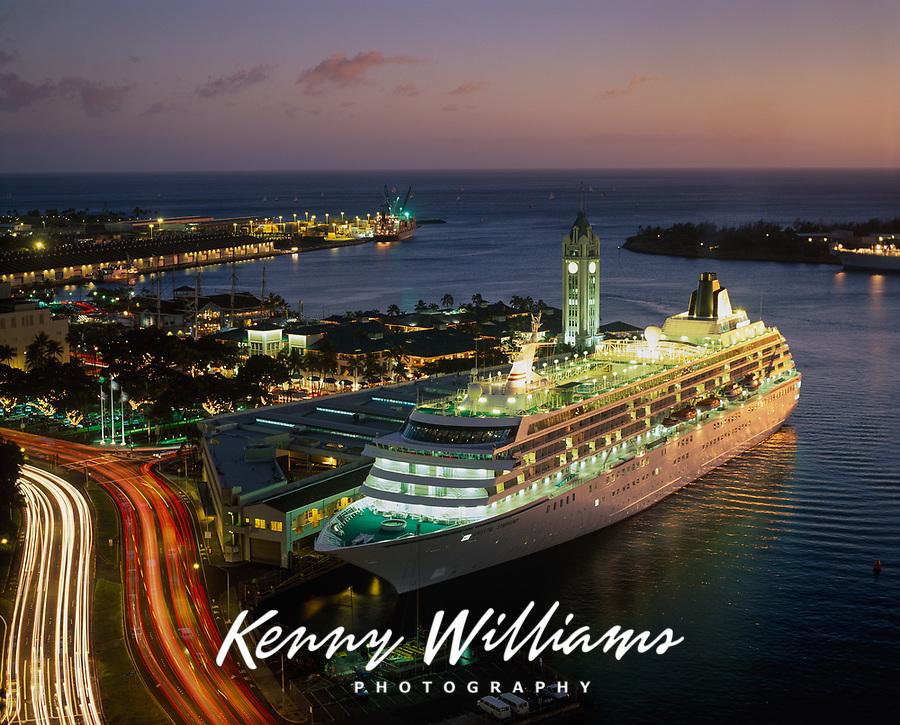 Cruise Ship at Night, Aloha Tower Marketplace, Honolulu, Oahu, Hawaii, USA.