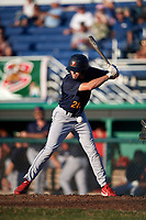State College Spikes right fielder Justin Toerner (28) avoids an inside pitch during a game against the Batavia Muckdogs on July 7, 2018 at Dwyer Stadium in Batavia, New York.  State College defeated Batavia 7-4.  (Mike Janes/Four Seam Images)