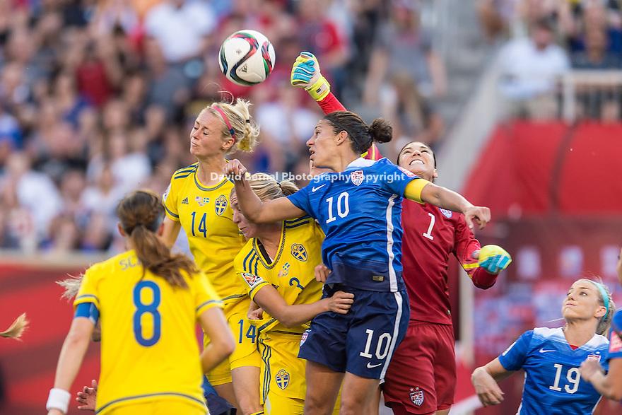 WINNIPEG, MANITOBA, CANADA - June 8, 2015: The Woman's World Cup US Women's National Team vs Sweden match at the Winnipeg Stadium . Final score, USA 0, Sweden 0.