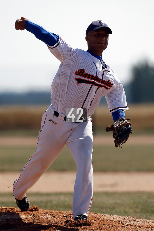 15 July 2011: Alejandro Zuaznabar of the Montpellier Barracudas pitches against Montigny during the 2011 Challenge de France match won 10-7 by the Montpellier Barracudas over Montigny Cougars, in Les Andelys, near Rouen, France.