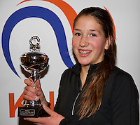 Almere, Netherlands, December 6, 2015, Winter Youth Circuit, Winner girls 14 years: Kim Hansen<br /> Photo: Tennisimages/Henk Koster