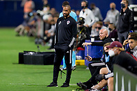 CARSON, CA - SEPTEMBER 19: Robin Frazier Colorado Rapids head coach on the sideline during a game between Colorado Rapids and Los Angeles Galaxy at Dignity Heath Sports Park on September 19, 2020 in Carson, California.