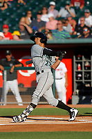 Dayton Dragons outfielder Lorenzo Cedrola (270 follows through on a swing during a game against the Lansing Lugnuts at Cooley Law School Stadium on August 10, 2018 in Lansing, Michigan . Lansing defeated Dayton 11-4.  (Robert Gurganus/Four Seam Images)