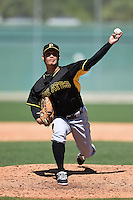 Pittsburgh Pirates pitcher Yau-Hsun Yang (25) during a minor league spring training intrasquad game on March 30, 2014 at Pirate City in Bradenton, Florida.  (Mike Janes/Four Seam Images)