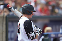 Brendan McKay (38) of the Louisville Cardinals waits on deck during the game against the Florida State Seminoles in Game Eleven of the 2017 ACC Baseball Championship at Louisville Slugger Field on May 26, 2017 in Louisville, Kentucky. The Seminoles defeated the Cardinals 6-2. (Brian Westerholt/Four Seam Images)