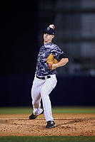 Tampa Yankees relief pitcher Cody Carroll (27) delivers a pitch during a game against the Bradenton Marauders on April 15, 2017 at George M. Steinbrenner Field in Tampa, Florida.  Tampa defeated Bradenton 3-2.  (Mike Janes/Four Seam Images)