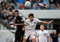 LOS ANGELES, CA - MARCH 01: Latif Blessing #7 of LAFC battles with Rodolfo Pizarro #10 of Inter Miami CF during a game between Inter Miami CF and Los Angeles FC at Banc of California Stadium on March 01, 2020 in Los Angeles, California.