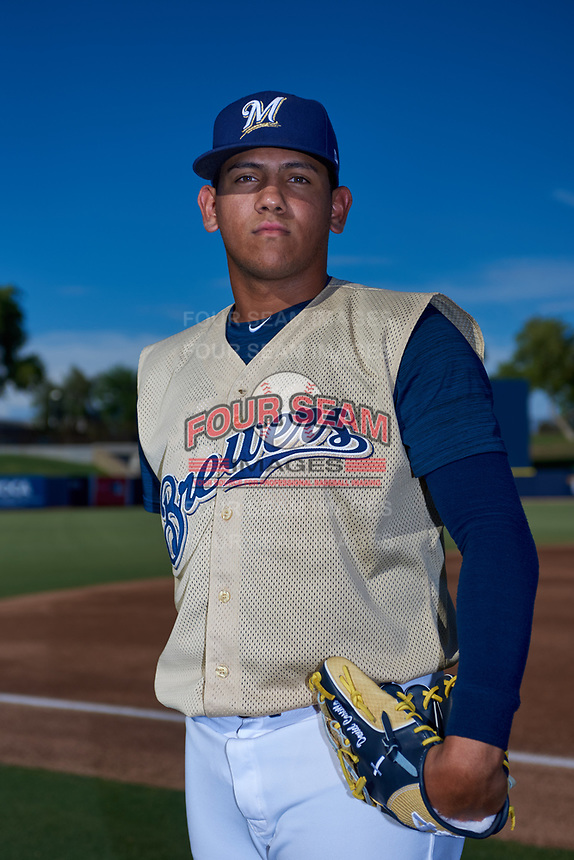 AZL Brewers Gold Brayan Salaya (40) poses for a photo before an Arizona League game against the AZL Brewers Blue on July 13, 2019 at American Family Fields of Phoenix in Phoenix, Arizona. The AZL Brewers Blue defeated the AZL Brewers Gold 6-0. (Zachary Lucy/Four Seam Images)