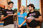 """Drew Gehling, Betsy Wolfe and Joe Tippett from the cast of """"Waitress"""" celebrate 'Sugar, Butter, Flour: The Waitress Pie Cookbook at The Brooks Atkinson Theatre on June 27, 2017 in New York City."""