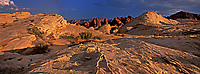 971000001 panoramic view -  angled sunset light gives a three dimensional feel to the sandstone and red rock formations and leading lines in valley of fire state park nevada
