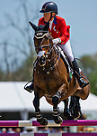 April 27, 2014: GIN & JUICE, ridden by Hawley Bennett-Awad (CAN), competes in the Stadium Jumping Finals at the Rolex Kentucky 3-Day Event at the Kentucky Horse Park in Lexington, KY. Scott Serio/ESW/CSM