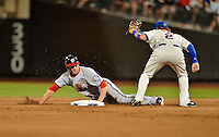 24 July 2012: Washington Nationals rookie outfielder Bryce Harper is caught stealing by Justin Turner during a game against the New York Mets at Citi Field in Flushing, NY. The Nationals defeated the Mets 5-2 to take the second game of their 3-game series. Mandatory Credit: Ed Wolfstein Photo