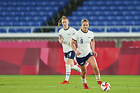 YOKOHAMA, JAPAN - JULY 30: Lindsey Horan #9 of the United States controls the ball during a game between Netherlands and USWNT at International Stadium Yokohama on July 30, 2021 in Yokohama, Japan.