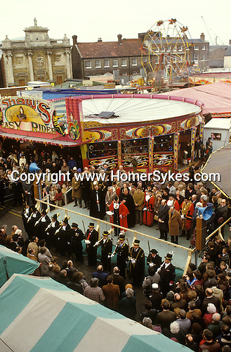 King Lynn annual Mart February 14th fair. Norfolk UK. The Mayor and various Town Hall dignitaries open the annual Mart. 1982, 1980S UK