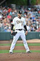 Salt Lake Bees starting pitcher Justin Thomas (10) during the game against the Reno Aces at Smith's Ballpark on May 4, 2014 in Salt Lake City, Utah.  (Stephen Smith/Four Seam Images)