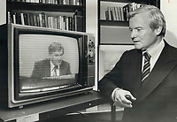 1980 FILE PHOTO - ARCHIVES -<br /> <br /> Eye on Quebec: Ontario Premier William Davis watches television in his Queen's Park office to keep up to date on the results of Quebec referendum on sovereignty-association.<br /> <br /> 1980<br /> <br /> PHOTO :  Doug Griffin - Toronto Star Archives - AQP