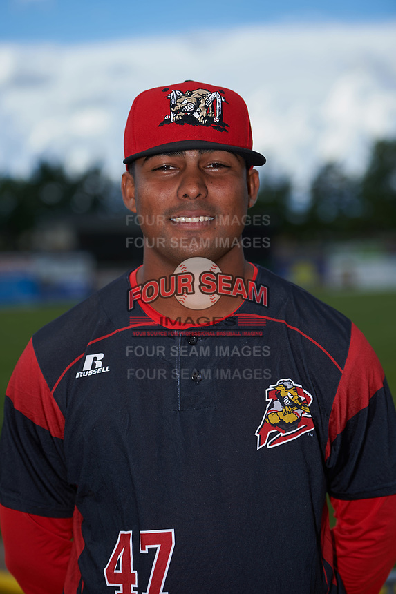 Batavia Muckdogs Manuel Rodriguez (47) poses for a photo before a game against the West Virginia Black Bears on June 26, 2017 at Dwyer Stadium in Batavia, New York.  Batavia defeated West Virginia 1-0 in ten innings.  (Mike Janes/Four Seam Images)