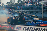 Sep 26, 2020; Gainesville, Florida, USA; NHRA top fuel driver Clay Millican during qualifying for the Gatornationals at Gainesville Raceway. Mandatory Credit: Mark J. Rebilas-USA TODAY Sports
