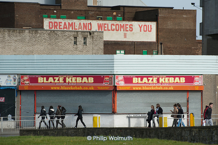 Dreamland welcomes you.  Empty shops and businesses in Margate, Kent.  The Dreamland amusement park has been closed since 2005.