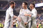 Real Madrid's Cristiano Ronaldo, Carlos Henrique Casemiro and Sergio Ramos celebrating a goal during La Liga match between Real Madrid and Real Sociedad at Santiago Bernabeu Stadium in Madrid, Spain. January 29, 2017. (ALTERPHOTOS/BorjaB.Hojas)