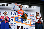 Anders Skaarseth Cofidis wears the Salmon Jersey at the end of Stage 1 of the 2018 Artic Race of Norway, running 184km from Vadso to Kirkenes, Norway. 16th August 2018. <br /> <br /> Picture: ASO/Pauline Ballet | Cyclefile<br /> All photos usage must carry mandatory copyright credit (© Cyclefile | ASO/Pauline Ballet)