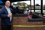 Mossley 4 Pickering Town 1, 26/09/2020. Seel Park, Northern Premier League Division One North West. A spectator waiting for the start of the game as Mossley take on Pickering Town. Formed in 1903, Mossley moved into their current ground in 1912 and have played there ever since. The home team won the match 4-1, watched by a crowd of 400, the maximum number permitted in the ground under COVID-19 social distancing regulations. Photo by Colin McPherson.