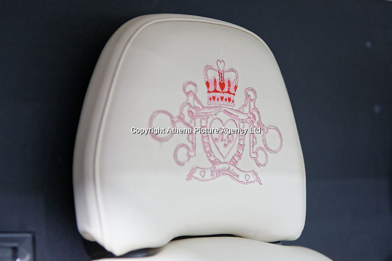 """Pictured: The embroidered headrest in the pink Fiat Ducato horsebox once owned by tv personality Katie Price.<br /> Re: A pink horsebox owned by Katie Price is up for grabs at auction after failing to sell on eBay.<br /> The 2012 registered Fiat Ducato is instead listed on the John Pye online auction site and is now at the company's depot in Port Talbot, south Wales.<br /> The vehicle has only covered 7,000 miles, with additional features EQUI-TREK SUPER SONIC HORSE BOX CARRIER.<br /> Previously owned by Model/TV celebrity Katie Price<br /> 3.5 t finished paint work in Pink by Kahn.<br /> 2 Horse carrier.<br /> Cream Leather interior.<br /> Tachograph.<br /> Aircon.<br /> Grooms Locker.<br /> Extra height partition.<br /> Skylight Roof Vent.<br /> Internal Lighting.<br /> Tinted windows.<br /> Tie Rings on external.<br /> Internal and rear reversing cameras.<br /> wireless camera system with 7"""" screen"""