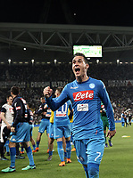 Calcio, Serie A: Juventus - Napoli, Torino, Allianz Stadium, 22 aprile, 2018.<br /> Napoli's José Maria Callejon celebrates after winning 1-0  the Italian Serie A football match between Juventus and Napoli at Torino's Allianz stadium, April 22, 2018.<br /> UPDATE IMAGES PRESS/Isabella Bonotto