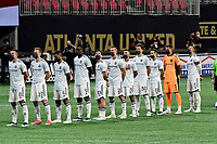 ATLANTA, GA - APRIL 24: Chicago Fire during National Anthem prior to a game between Chicago Fire FC and Atlanta United FC at Mercedes-Benz Stadium on April 24, 2021 in Atlanta, Georgia.