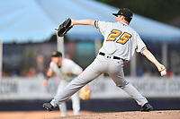 West Virginia Power starting pitcher Clay Chandler (25) delivers a pitch during a game against the Asheville Tourists at McCormick Field on May 30, 2019 in Asheville, North Carolina. The  Power defeated the Tourists 8-3. (Tony Farlow/Four Seam Images)